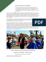 Breve Reseña de La Danza Carnaval de Arequipa