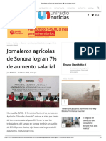 12- 02- 19 Jornaleros agrícolas de Sonora logran 7% de aumento salarial