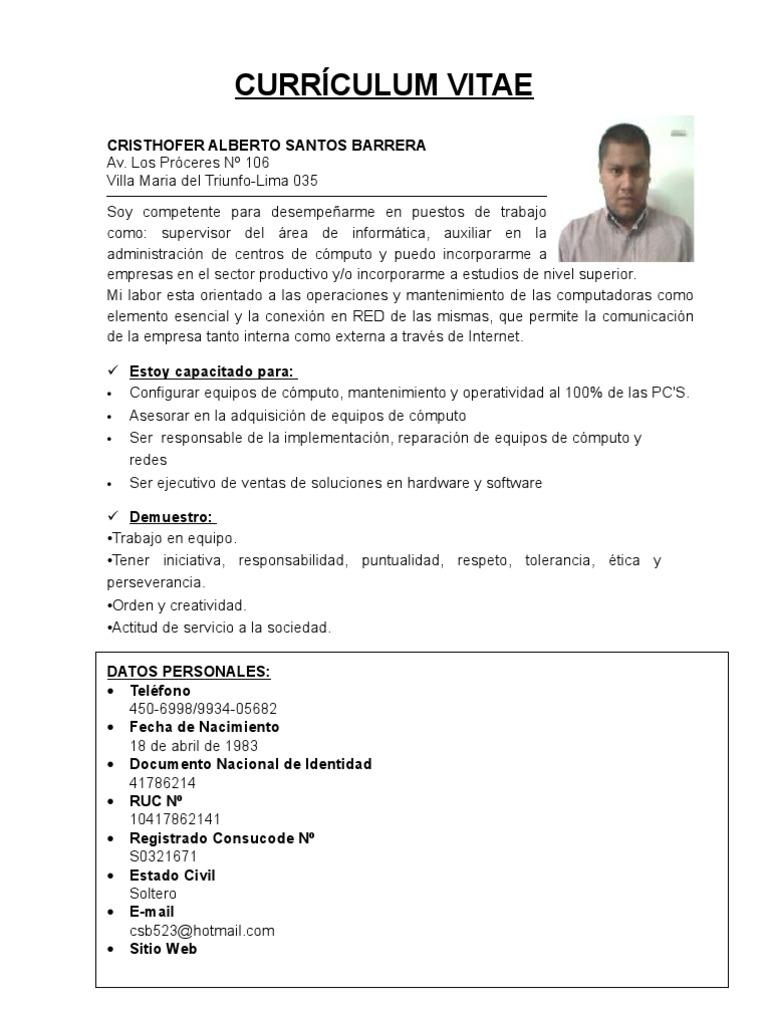 Excepcional Curriculum Vitae Para Ejecutivo De Ventas Doc Galería ...