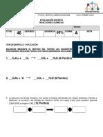 EVALUACIÓN  ecuaciones quimicas