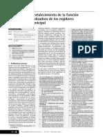 Planificación y Fortalecimiento de La Función Normativa y Fiscalizadora de Los Regidores y Del Concejo Municipal