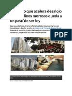 Proyecto Que Acelera Desalojo de Inquilinos Morosos Queda a Un Paso de Ser Ley