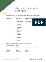 Saskatchewan closing counter service at 19 environment field offices