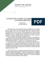 Alcir Pécora - LITERATURA COMO ATO IRREDUTÍVEL A CONHECIMENTO