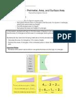 Math Unit 5 Parent Information- Perimeter, Area, And Surface Area