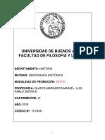 Demografía Histórica (Massé) - 2c 2018