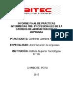 Informe Final de Practicas Del Area de Administracion de Empresas