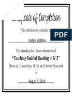 guided reading workshop certificate