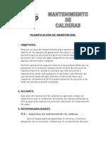 PLANIFICACIÓN DE MANTENCIÓN calderas