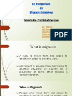 Copy of an Assignment on Migrants Interview Submitted to- Prof. Nisha Srivastava
