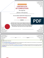 Elegant Training Completion Certificate
