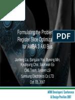 Formulating the Problem of Register Slice Optimization for AMBA 3 AXI Bus