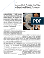 Design and Fabrication of Soft Artificial Skin Using Embedded Microchannels and Liquid Conductors