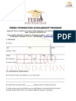 Ferro Foundation Scholarship Program Application
