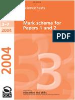 KS3 Science 2004 Mark Scheme