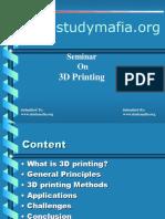 3D Printing  seminar Ppt
