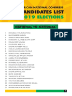 ANC Candidate List 2019 Elections
