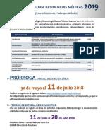 Convocatoria Especialidades y Subespecialidades Para 2019