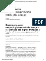Correspondances Morphologiques Entre Le Français Et La Langue Des Signes Française
