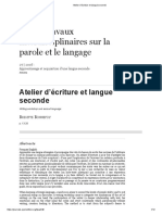 Atelier d'Écriture Et Langue Seconde