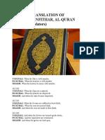 English Translation of Surah Al Infithar