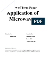 Review of Term Paper Application of Microwaves  SHAILESH TIWARI
