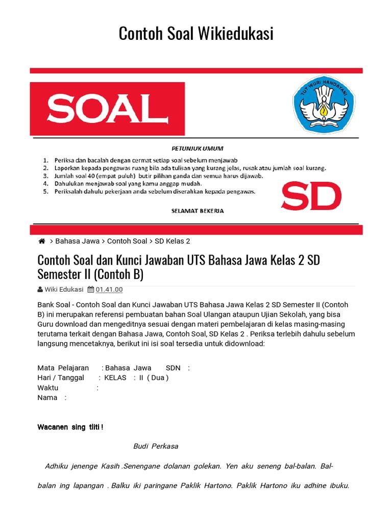 Contoh Soal Dan Kunci Jawaban Uts Bahasa Jawa Kelas 2 Sd Semester Ii Contoh B Contoh Soal Wikiedukasi