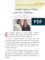 Arabia Saudita apoya a China contra los yihadistas