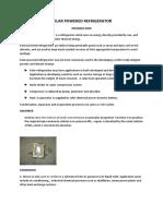 Synopsis on Solar Powered Refrigerator