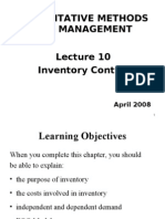 Lecture 10 - Inventory Control