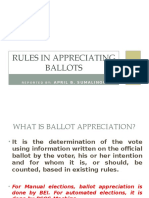 Rules in Appreciating Ballots