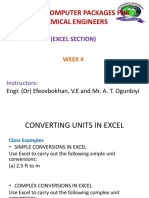 Week 4 - Units Conversion and Curve Fitting in Excel