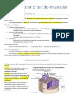 Resumo Tecido muscular; histologia e fisiologia da contração