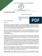 Lettre de la Fédération de football des Comores (FFC) à la FIFA