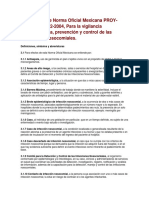 PROYECTO de Norma Oficial Mexicana PROYinfnosocomiales
