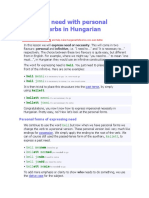 Expressing Need With Personal Infinitive Verbs in Hungarian
