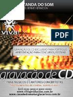 Gravação de CD para Músicos e Cantores Concertistas