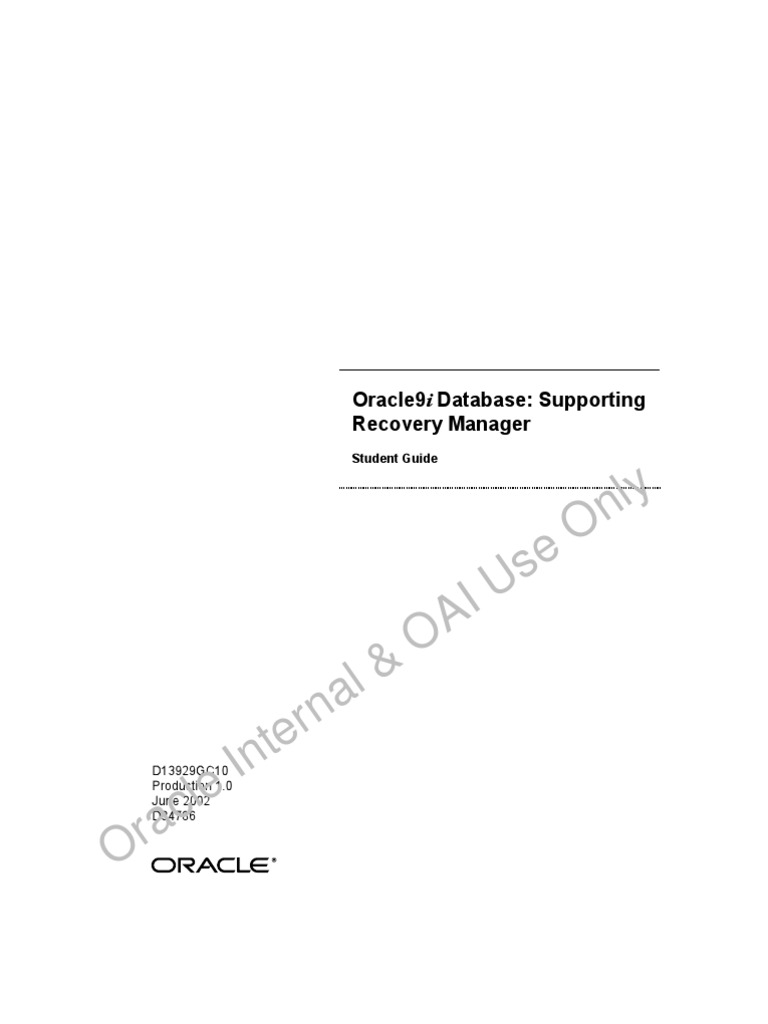 oracle 9i database supporting recovery manager rman student rh scribd com Oracle Server Oracle Server