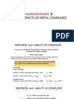 Thermodynamics and Kinetic Stability of Coordination Complexes