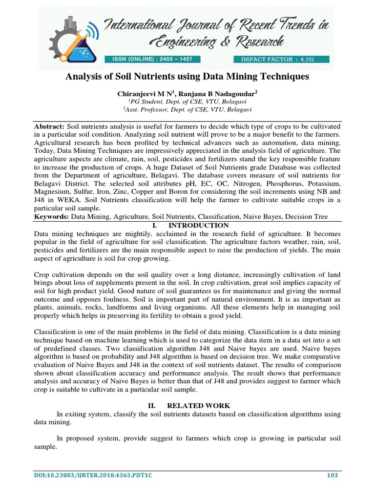 Analysis of Soil Nutrients Using Data Mining Techniques