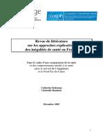 Revue de Littérature Sur Les Approches Explicatives Des Inégalités de Santé en France