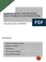 Kapasitansi, Dielektrik, Dan Energi Elektrostatik