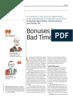 Bonuses in bad times