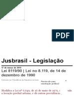 Lei 8119_90 _ Lei No 8.119, De 14 de Dezembro de 1990, Presidência Da Republica