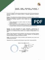 Anexo IV - Descuentos aplicables a publicaciones periódicas editadas por Partidos Políticos y Sindicatos en 2018
