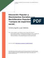Victoria Aguilo y Juan Wahren (2013). Educacion Popular y Movimientos Sociales Los Bachilleratos Populares Como Ocampos de Experimentacio (..)