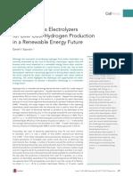 Membraneless Electrolyzersfor Low-Cost Hydrogen Productionin a Renewable Energy Future