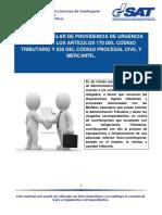 Medida Cautelar de Providencia de Urgencia Conforme Los Artículos 170 Del Código Tributario 530 Del Código Procesal Civil y Mercantil