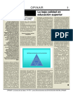 Art. OPINAR 479 - Claudio Rama - La Baja Calidad de La Educación Superior - Llamados Endogámicos en El CFE - 26 Diciembre 2018