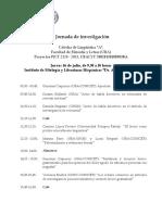 Programa Jornada PICT 2120 Lingüística A
